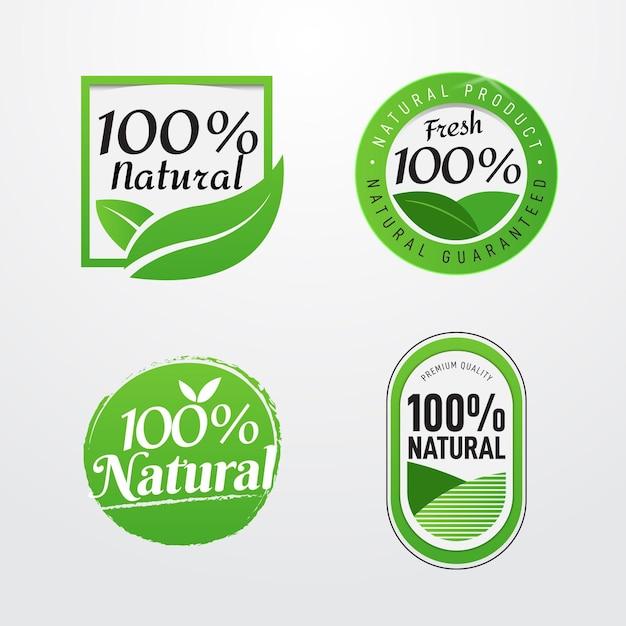Des étiquettes 100% Naturelles Vecteur gratuit