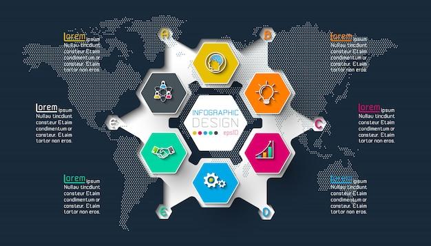 Les étiquettes d'affaires à six pans forment l'infographie sur un cercle. Vecteur Premium