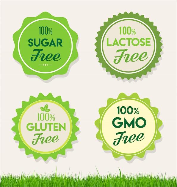 Étiquettes d'aliments sains et naturels étiquettes biologiques Vecteur Premium