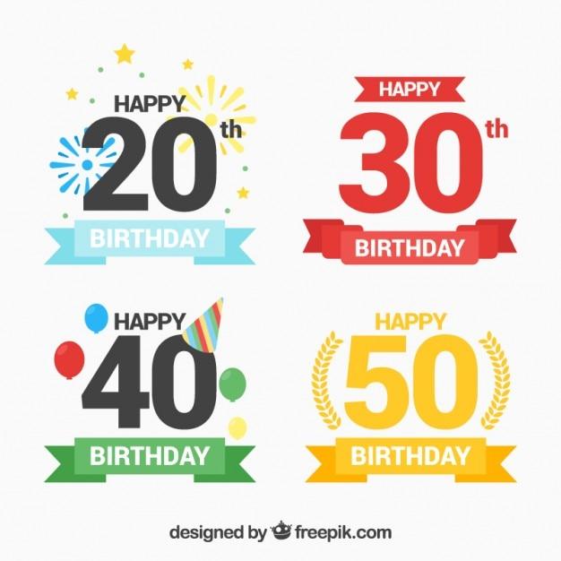 Étiquettes D'anniversaire Avec Des Numéros De Couleurs Vecteur gratuit