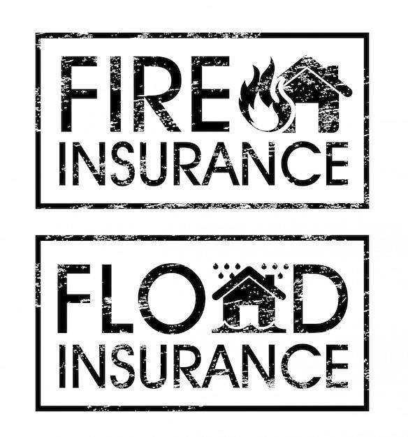 Étiquettes d'assurance sur l'illustration vectorielle fond blanc Vecteur Premium