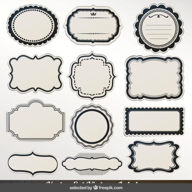 Tiquettes avec une collection de contour noir - Cadre avec photo noir et blanc ...