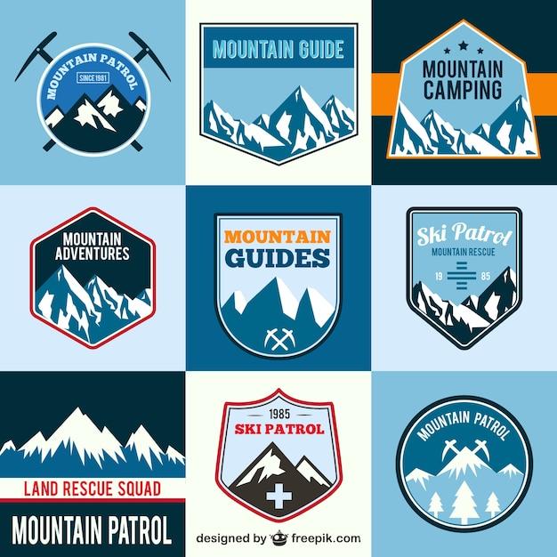 Étiquettes d'aventure de montagne Vecteur gratuit