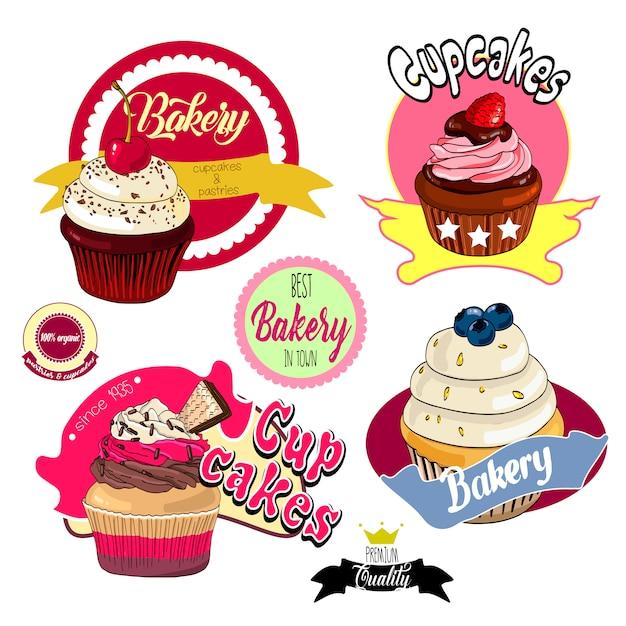 Étiquettes et badges de boulangerie vintage cupcakes Vecteur Premium