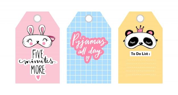 Étiquettes, Badges Avec Masques Pour Les Yeux Et Phrases De Lettrage De Sommeil. Vecteur Premium