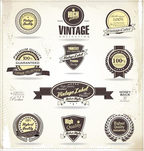 Étiquettes et badges vintage retro Vecteur Premium