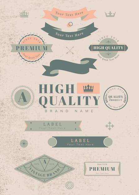 Étiquettes et badges vintage Vecteur gratuit