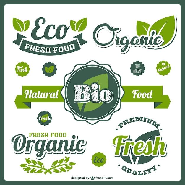 Étiquettes bio alimentaires frais Vecteur gratuit