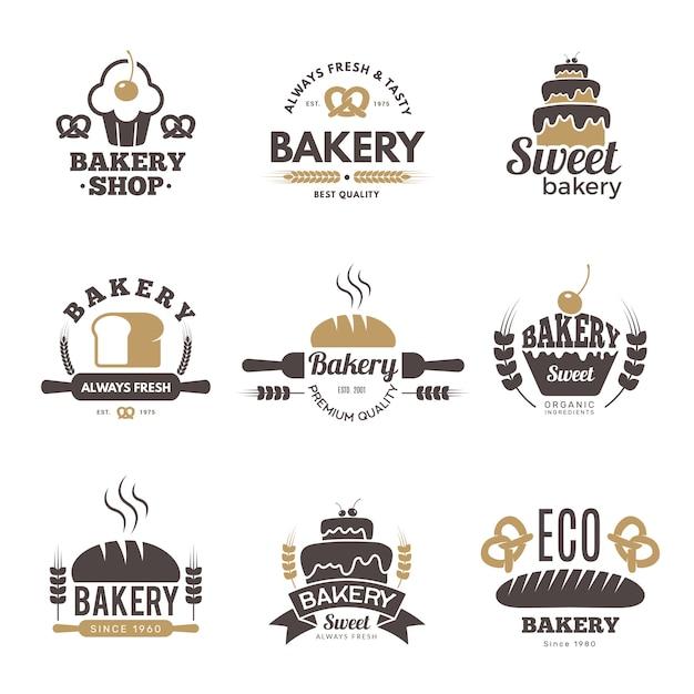 Étiquettes De Boulangerie. Symboles De Cuisine Illustrations De Cuisine Pour La Création De Logo Vecteur Premium