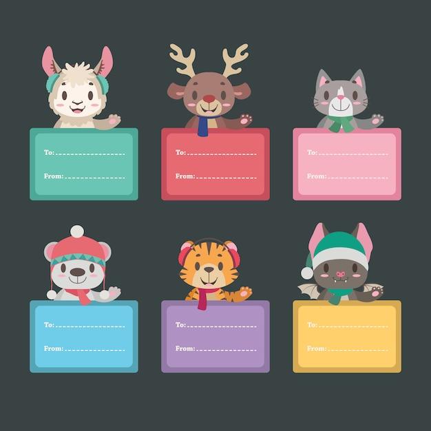 Etiquettes cadeaux de noël avec des animaux mignons Vecteur Premium
