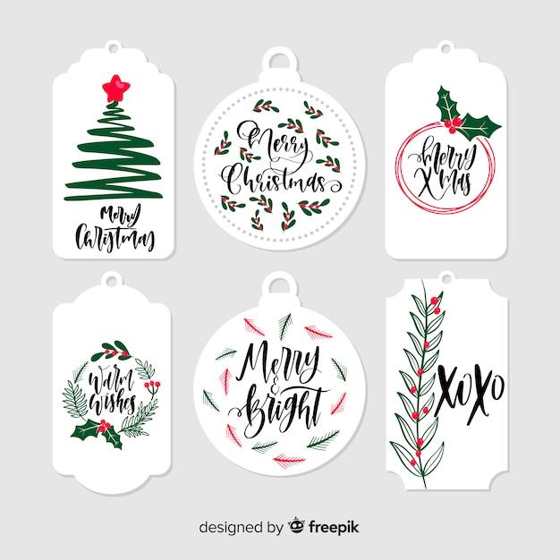 Étiquettes de cadeaux de noël dessinés à la main Vecteur gratuit
