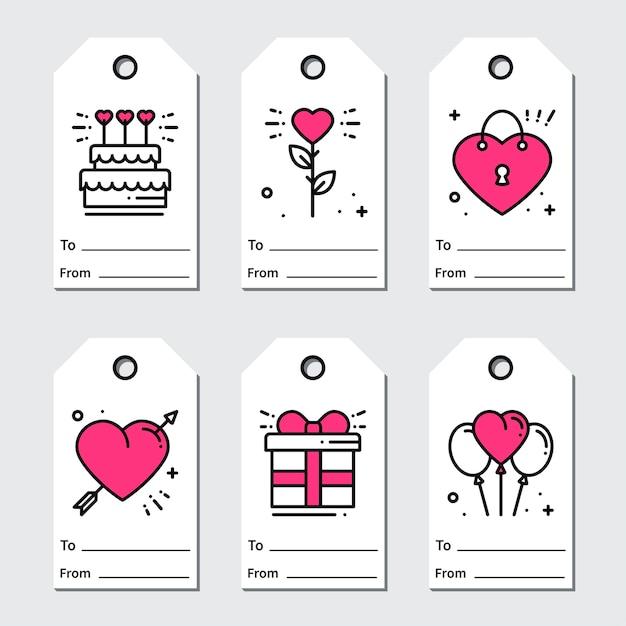 Etiquettes cadeaux st valentin Vecteur Premium