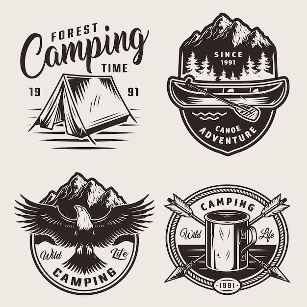 Étiquettes De Camping D'été Monochromes Vecteur gratuit