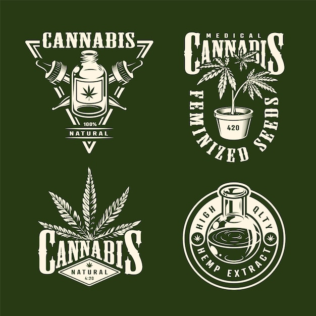 Étiquettes De Cannabis Monochrome Vintage Sertie De Pipettes D'huile De Chanvre Plantes De Marijuana Isolé Illustration Vectorielle Vecteur gratuit