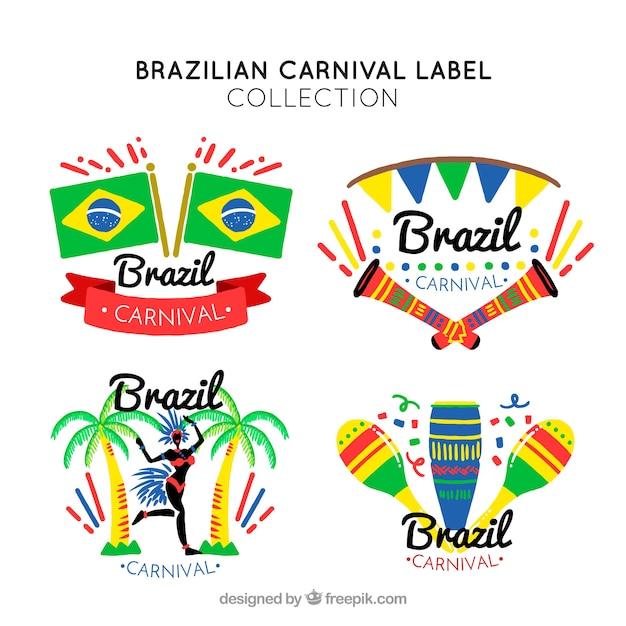Étiquettes De Carnaval Brésilien Vecteur gratuit