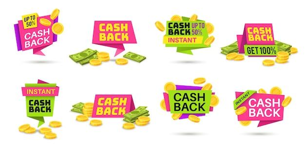 Étiquettes De Cashback. Icônes Colorées De Remise En Argent, Badges De Remboursement D'argent Avec Des Pièces Et Des Billets Vecteur Premium