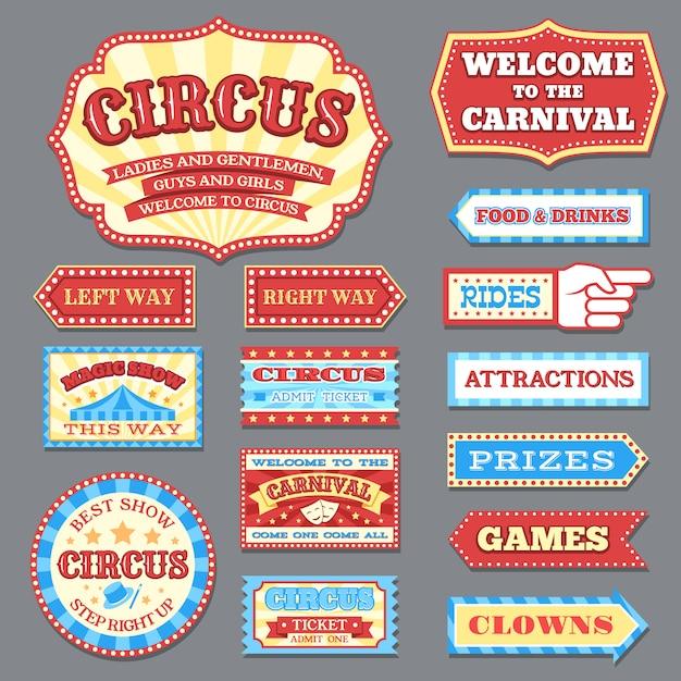 Étiquettes De Cirque Vintage Et Enseignes De Carnaval Vector Collection Vecteur Premium
