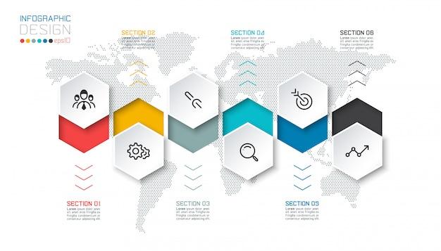 Les étiquettes commerciales à six pans creux forment la barre de groupes de modèles infographiques. Vecteur Premium