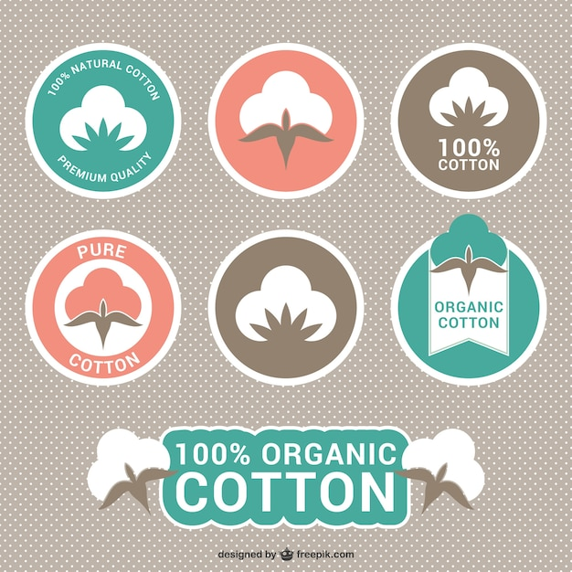 Étiquettes en coton bio Vecteur gratuit