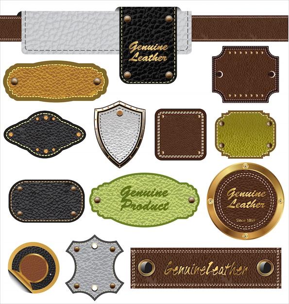 Étiquettes en cuir Vecteur Premium