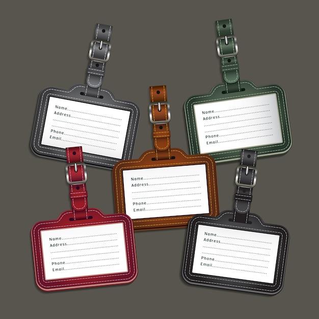 Etiquettes en cuir Vecteur Premium