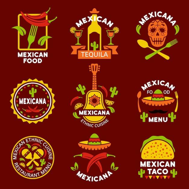 Étiquettes De Cuisine Ethnique Mexicaine, Emblèmes Et Badges Ensemble D'éléments De Conception Vecteur Premium