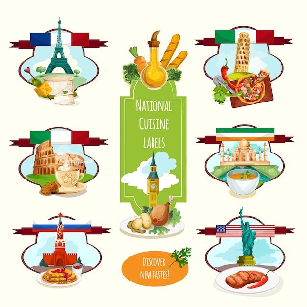 Étiquettes de cuisine nationale Vecteur gratuit