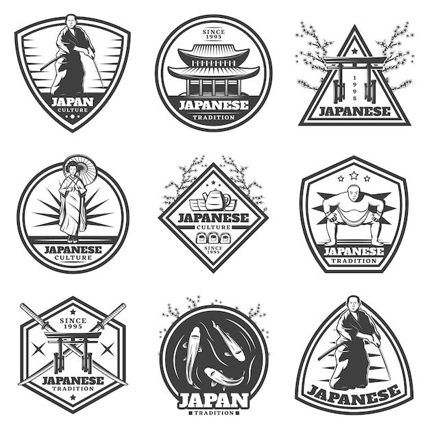 Étiquettes De Culture Japonaise Vintage Sertie De Joueur De Sumo Femme Samouraï Et éléments Nationaux Traditionnels Isolés Vecteur gratuit
