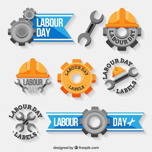Étiquettes décoratives avec des designs géniaux pour le jour du travail Vecteur gratuit