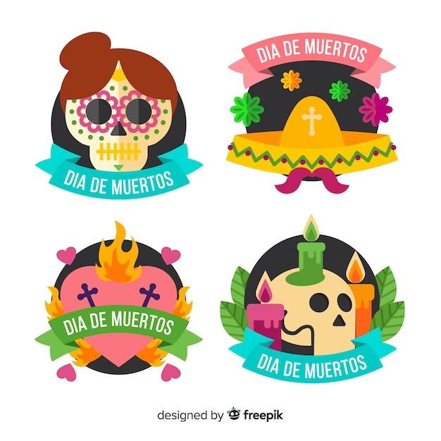 Étiquettes día de muertos plates avec collection de rubans Vecteur gratuit