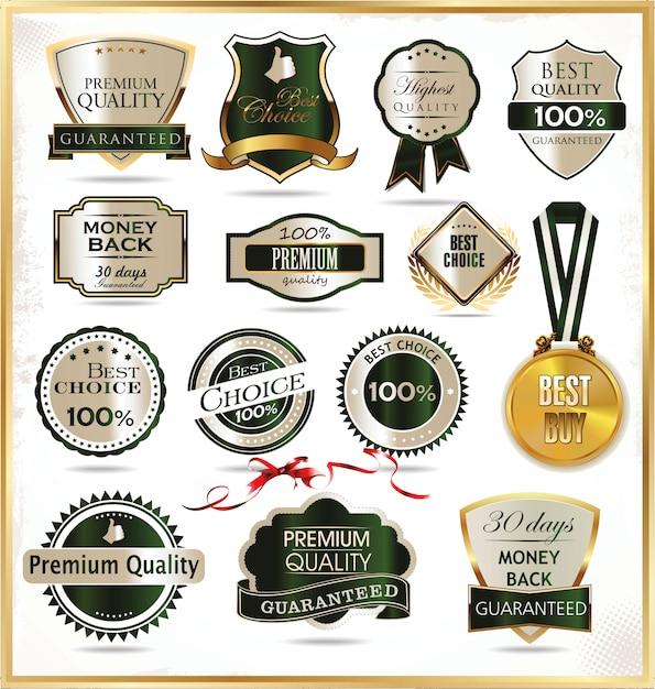 Étiquettes dorées de luxe Vecteur Premium