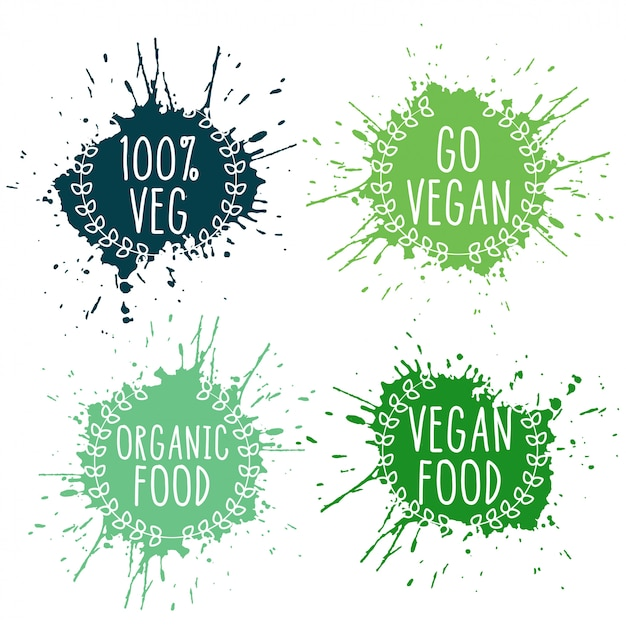Étiquettes d'éclaboussure d'aliments végétariens végétariens purs dans les couleurs vertes Vecteur gratuit