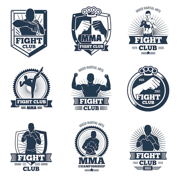 Étiquettes et emblèmes de vecteur mma rétro. combattre les logos vintage du club Vecteur Premium