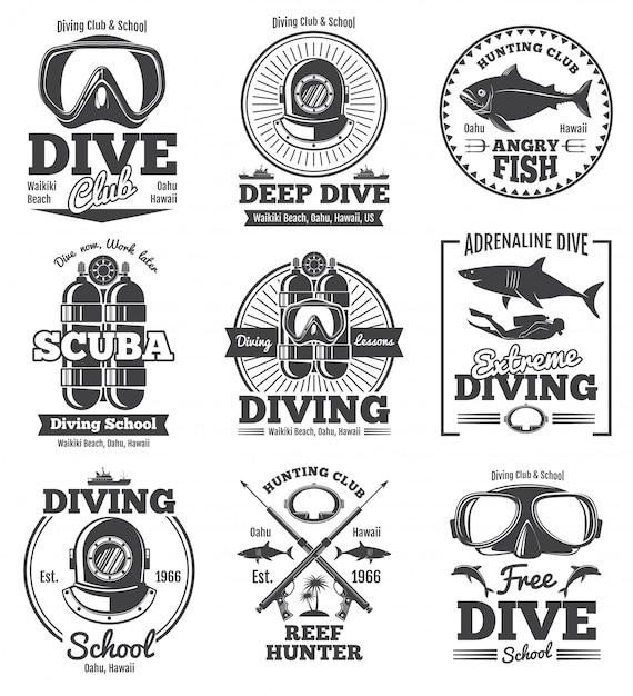 Étiquettes et emblèmes vintage de club de plongée sous-marine. Vecteur Premium