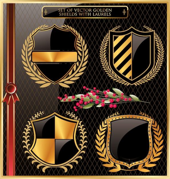 Etiquettes encadrées en or noir avec des couronnes de laurier Vecteur Premium