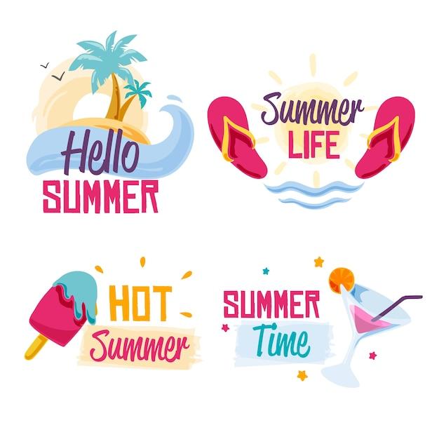 Étiquettes D'été Avec Crème Glacée Et Plage Vecteur gratuit