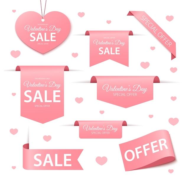 Étiquettes Et étiquettes De Vente De Saint Valentin Vecteur Premium