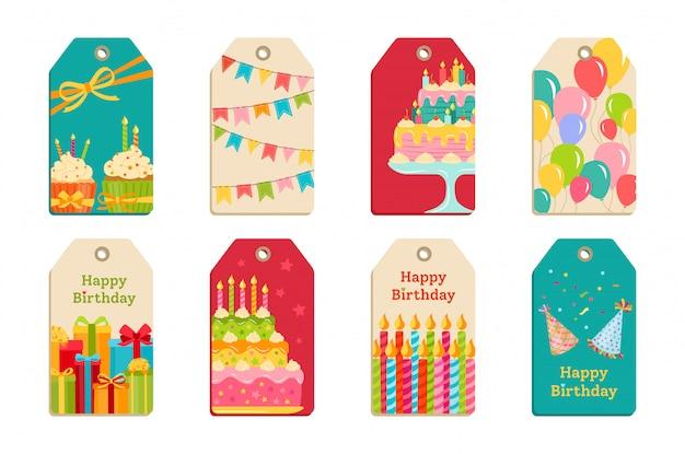 Étiquettes De Fête D'anniversaire Définir L'étiquette De Célébration Vecteur Premium