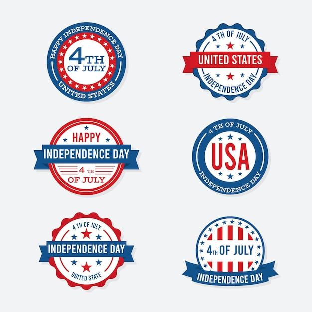 Étiquettes De La Fête De L'indépendance Vecteur gratuit