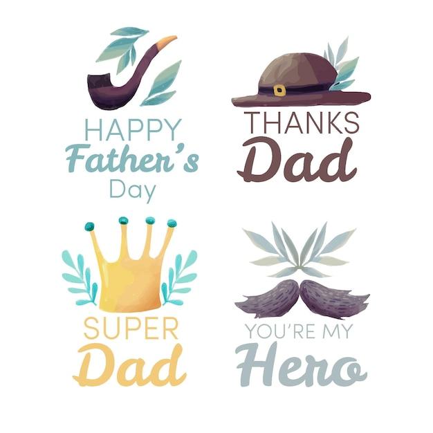 Étiquettes De Fête Des Pères Aquarelle Vecteur gratuit