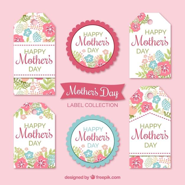 Étiquettes florales en couleurs pastel pour le jour de la mère Vecteur gratuit