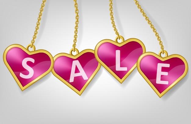 Étiquettes En Forme De Coeur Rose Avec Texte Vente Vecteur gratuit
