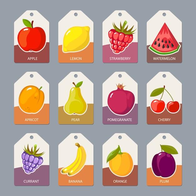 Étiquettes de fruits. aliments sains frais pommes oranges Vecteur Premium