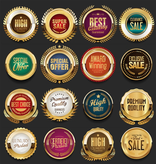 Étiquettes et insignes vintage rétro doré Vecteur Premium