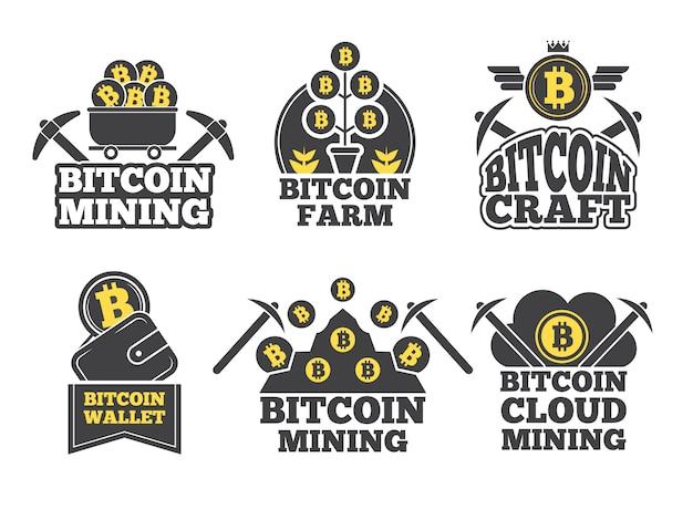 Étiquettes ou logos pour entreprises. badges monochromes pour l'industrie de la crypto Vecteur Premium