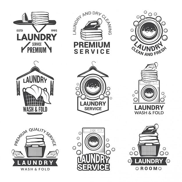 Étiquettes ou logos pour le service de blanchisserie. Vecteur Premium