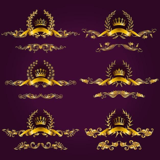 Etiquettes de luxe en or avec couronne de laurier Vecteur Premium