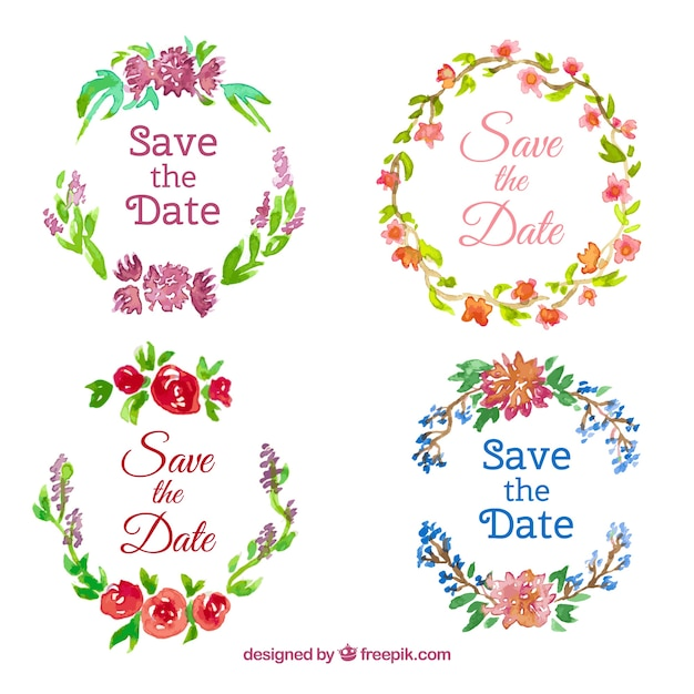 Étiquettes De Mariage D'aquarelle Avec Des Fleurs Vecteur gratuit