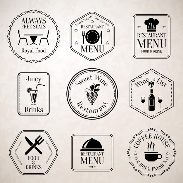 Étiquettes De Menu De Restaurant Noir Vecteur gratuit
