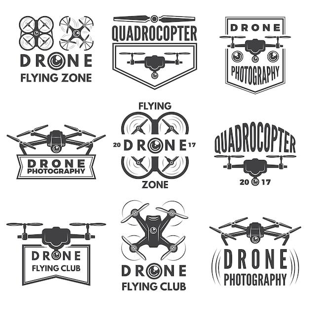 Étiquettes monochromes avec différents quadrocoptères Vecteur Premium